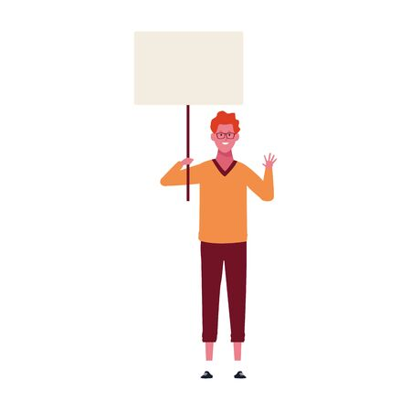 cartoon young man with blank placard icon over white background, vector illustration