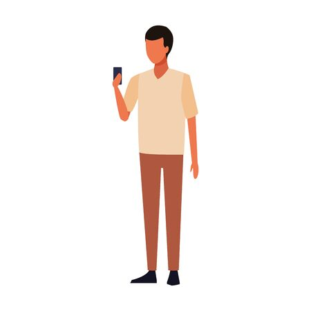 avatar man with a cellphone icon over white background, vector illustration