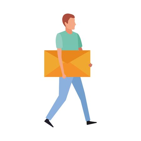 avatar man with big envelope icon over white background, vector illustration