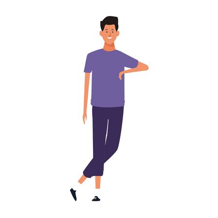 cartoon cool man standing icon over white background, colorful design. vector illustration