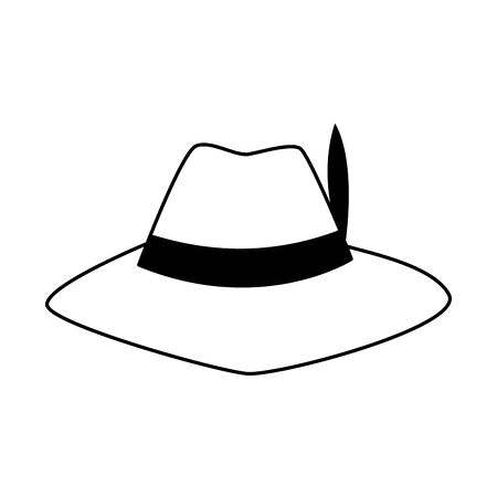hipster hat with feather over white background, vector illustration