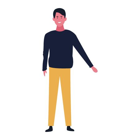 cartoon man wearing casual clothes over white background, colorful design. vector illustration