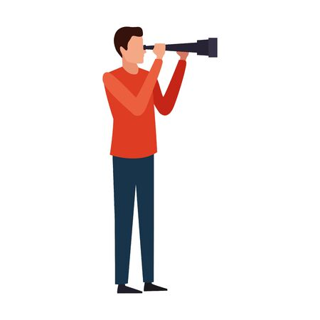 avatar man with spyglass over white background, vector illustration