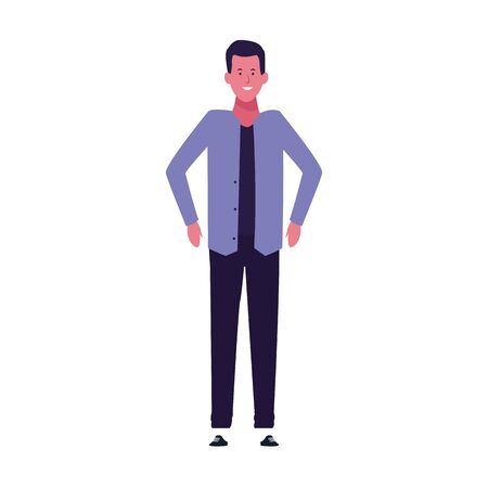 cartoon man wearing casual clothes icon over white background, vector illustration