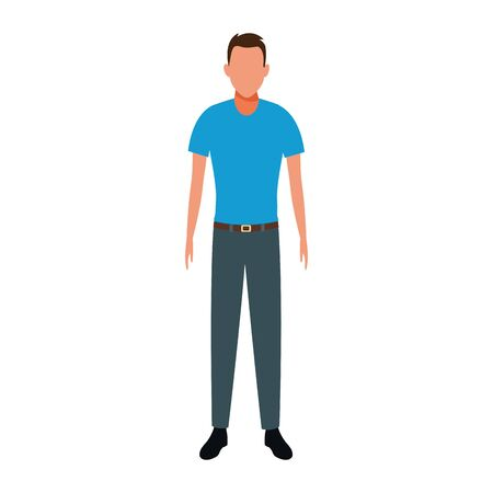 adult man standing icon over white background, vector illustration Иллюстрация