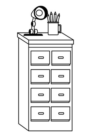 Office workplace elements light lamp and pencils on drawer cartoons ,vector illustration graphic design.