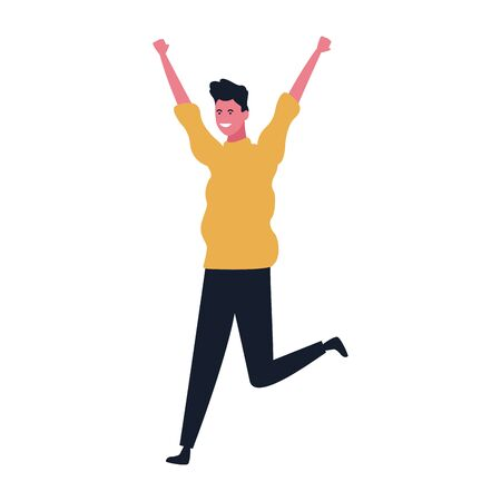 cartoon happy man having fun over white background, colorful design. vector illustration Иллюстрация