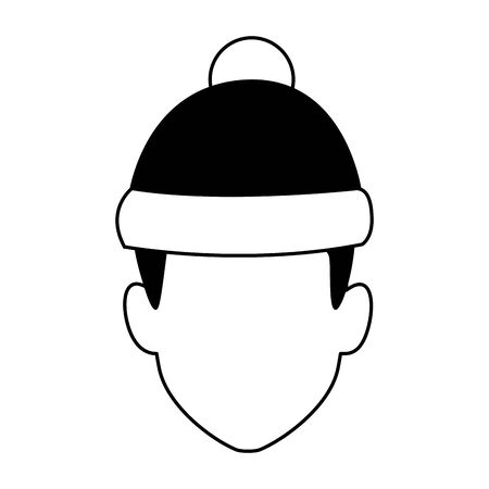 avatar boy with christmas hat icon over white background, vector illustration