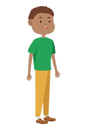Teenager afro man greeting and smiling with casual clothes cartoon ,vector illustration graphic design. Ilustracja