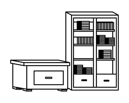 Office and workplace elements library and drawer cartoons ,vector illustration graphic design. 일러스트