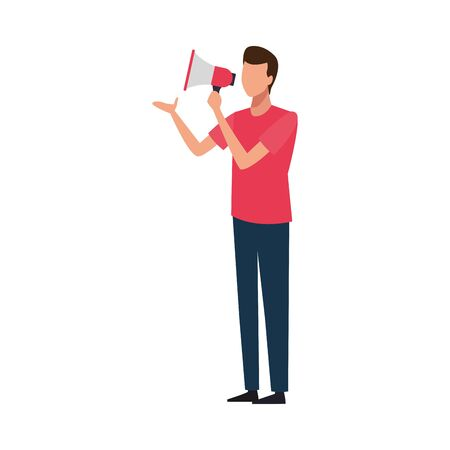 avatar man with megaphone icon over white background, vector illustration