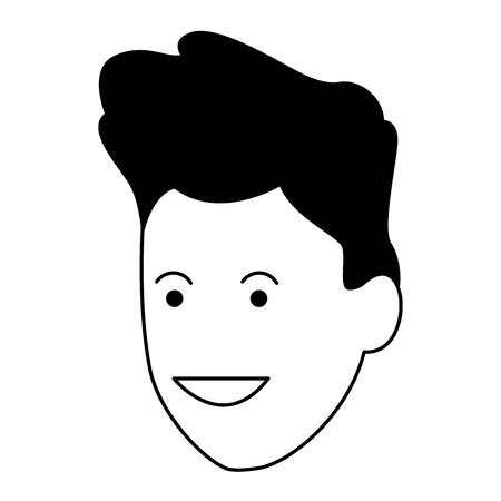 cartoon man face icon over white background, black and white design. vector illustration Иллюстрация