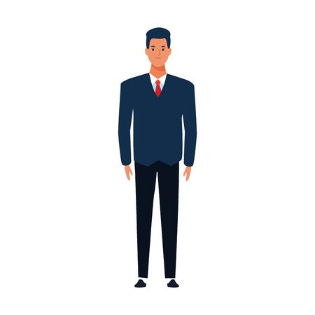 cartoon man wearing suit and tie over white background, vector illustration Иллюстрация
