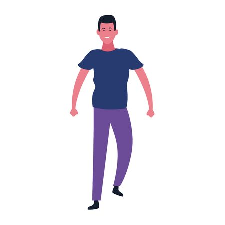 cartoon man walking and wearing casual clothes over white background, vector illustration Иллюстрация