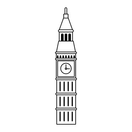 big ben icon over white background, vector illustration Çizim