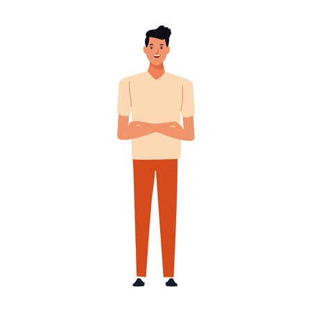 cartoon young man icon over white background, vector illustration Иллюстрация