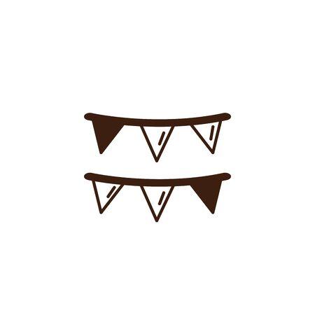 oktoberfest garlands hanging celebration isolated icon vector illustration design