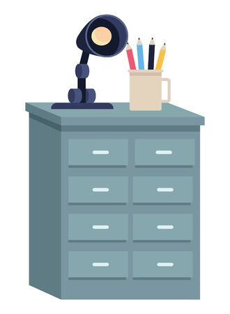 Office drawer with pencils cup and light lamp cartoon ,vector illustration graphic design. 写真素材 - 133701086