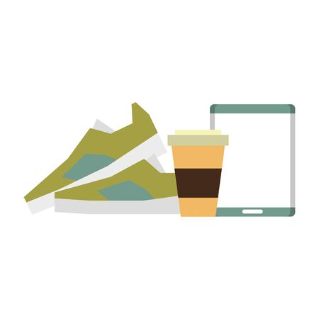 hipsters accessories for the holidays and coffee cup music player and sneakers isolated symbol Vector design illustration Ilustracja