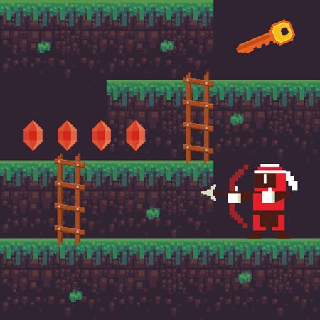 video game archery warrior in pixelated scene vector illustration design