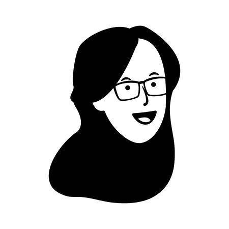 woman with glasses icon over white background, vector illustration
