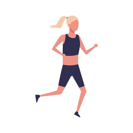 avatar woman with sport clothes running over white background, colorful design. vector illustration 일러스트