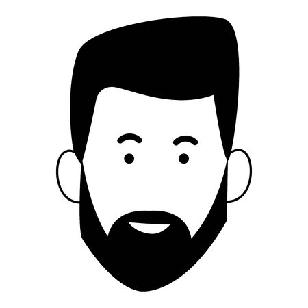 cartoon man with beard icon over white background, vector illustration