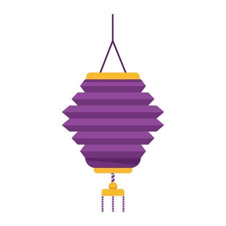 oriental lantern icon over white background, colorful design, vector illustration