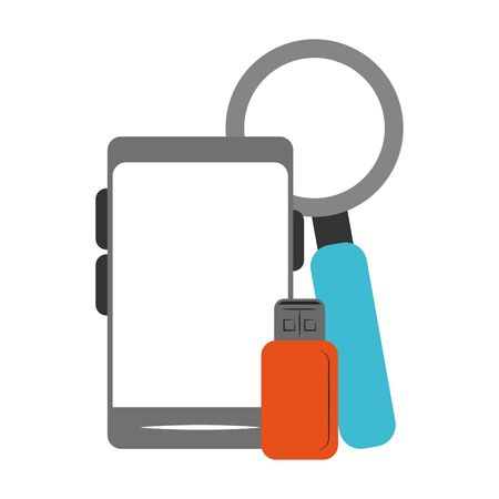 smartphone with usb and magnifying glass over white background, vector illustration Ilustrace