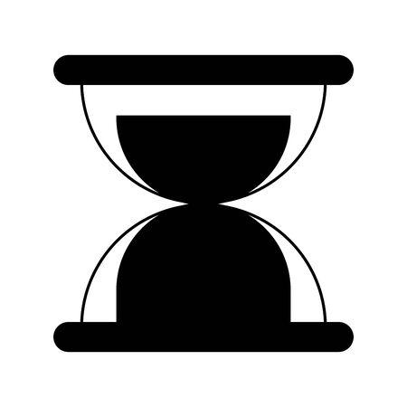 sand glass clock cartoon vector illustration graphic design in black and white Ilustrace