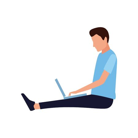 avatar man sitting with laptop computer icon over white background, vector illustration