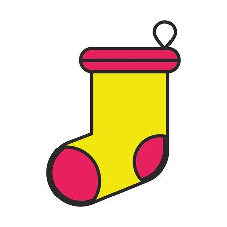 merry christmas sock decorative icon vector illustration design Illusztráció