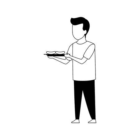avatar boy holding a tray with sausages over white background, vector illustration Ilustração