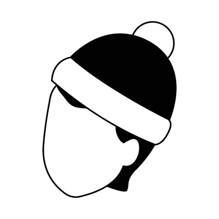 avatar boy with christmas hat over white background, vector illustration