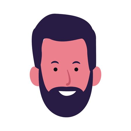 adult man with beard icon over white background, colorful design. vector illustration