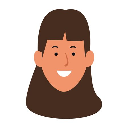 cartoon woman face icon over white background, vector illustration