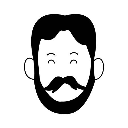cartoon man with beard and mustache icon over white background, vector illustration
