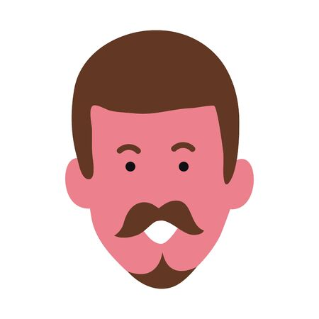 cartoon adult man face icon over white background, vector illustration Illusztráció