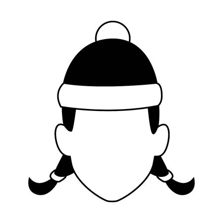 default girl with christmas hat icon over white background, flat design. vector illustration