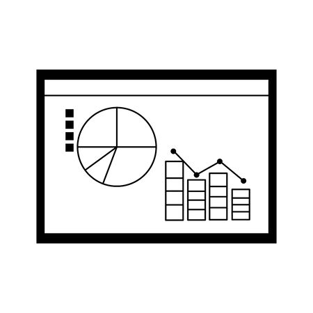 chart of statistical graphs icon over white background, vector illustration