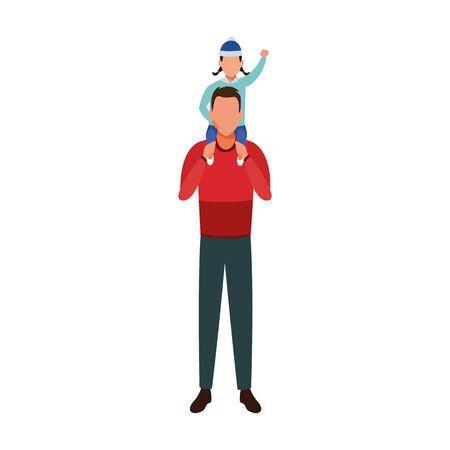 avatar Man Holding Kid On the Shoulders over white background, colorful design. vector illustration Illusztráció