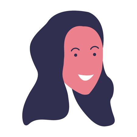 cartoon woman face with long hair icon over white background, colorful design. vector illustration