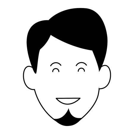cartoon man face with beard over white background, vector illustration