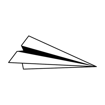 paper plane handmade cartoon vector illustration graphic design in black and white