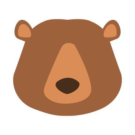 Cartoon wild bear face icon over white background, colorful design vector illustration Иллюстрация