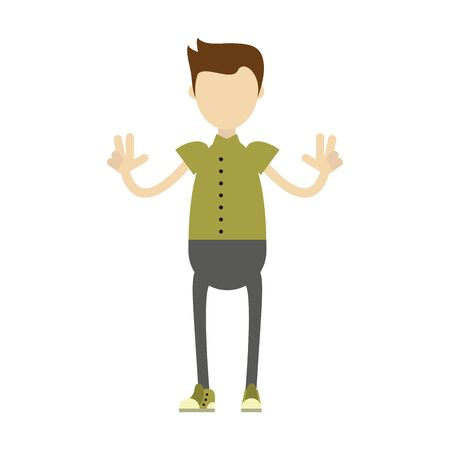 hipster boy with retro clothes isolated symbol Vector design illustration Stok Fotoğraf - 133703147