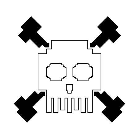 videogame pixelated retro art digital entertainment, skull isolated cartoon vector illustration graphic design