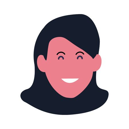cartoon woman smiling icon over white background, vector illustration Çizim