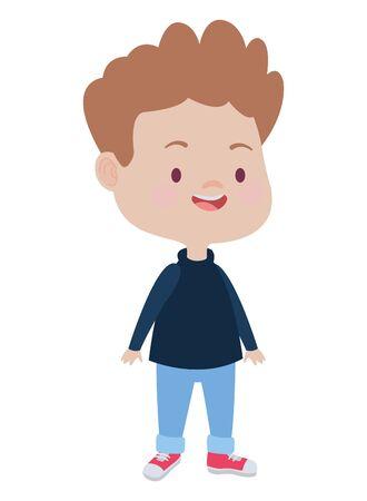Cute boy children smiling and having fun cartoon vector illustration graphic design. Stok Fotoğraf - 133703260