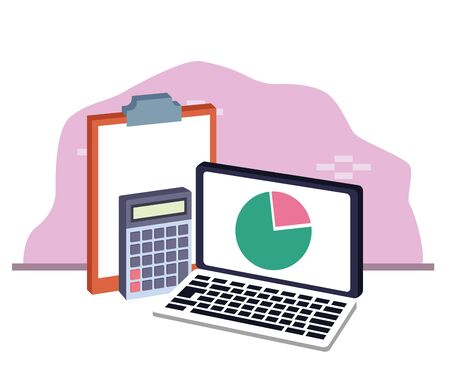 laptop computer with calculator and clipboard over white and pink background, colorful design , vector illustration